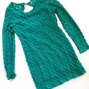 Free People Green Scalloped Lace Body Con Dress